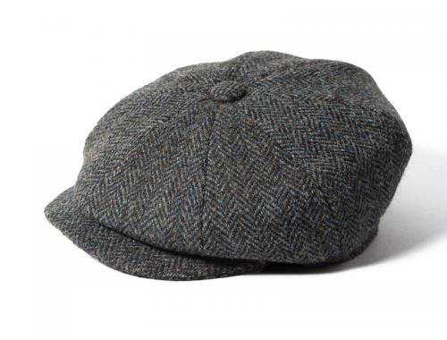 4fdc050f4 Harris Tweed Blue Eight Panel Bakers Boy Cap - Aero Leather ...