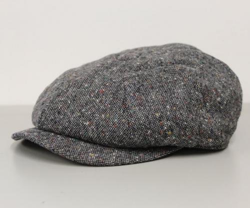 c3d2db4ea Donegal Tweed Blue Eight Panel Bakers Boy Cap - Aero Leather ...