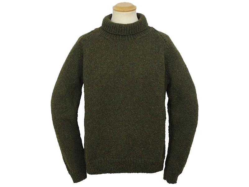 ede1849bed5 Hand Knitted Harris Wool Roll Neck Sweater in Moss Green